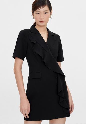 Pomelo black Bold Ruffled Side Button Up Dress - Black ECFDCAA325F4A9GS_1