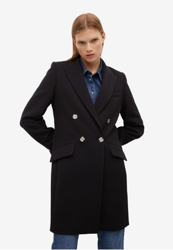 Mango black Masculine Structured Coat E3580AA393AD94GS_1