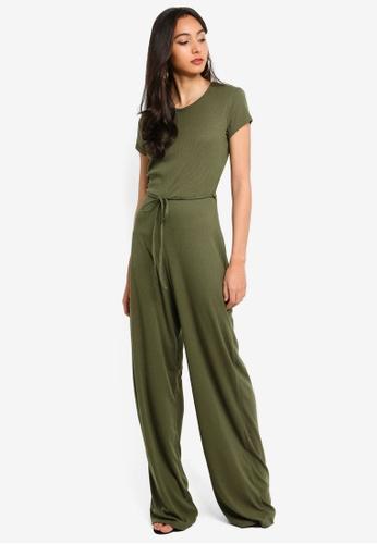 MISSGUIDED green Rib Short Sleeve Wide Leg Jumpsuit CCA99AA15E75A1GS_1