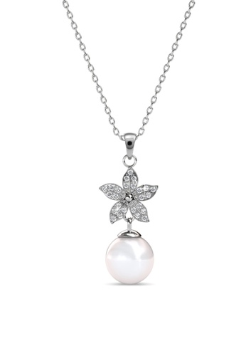 Her Jewellery silver Swarovski® Crystals - Bloom Pearl Pendant (18K White Gold Plated) Her Jewellery HE581AC0R9U4MY_1