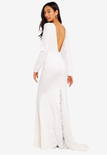 MISSGUIDED white Lace Insert Fishtail Maxi Dress 5686BAA16072C4GS_1