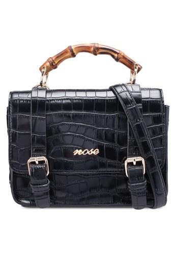 Nose black Croco Print Crossbody Bag 0C5F6AC219B3C8GS_1