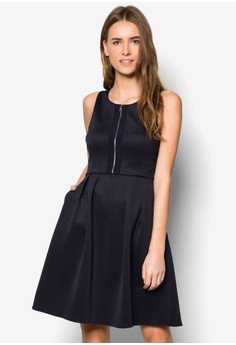 Collection Exposed Zip Fit& Flare Dress