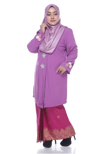 Nayli Plus Size Purple Kebaya Labuh from Nayli in Pink and Purple