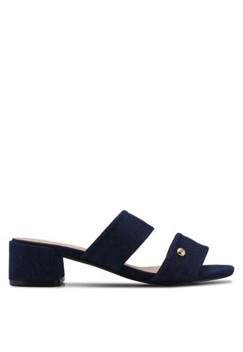 Nose blue Double Strap Block Heel Slide Sandals 3FD69SH0D6923CGS_1