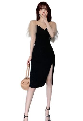 Sunnydaysweety black Sexy Lace Diamond Stitching V-Neck One Piece Dress A21022261 DD4F8AA793B5C6GS_1