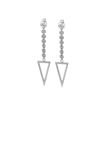 Glamorousky white Fashion Simple Geometric Triangle Tassel 316L Stainless Steel Earrings with Cubic Zirconia E0EBAACCEC139FGS_1