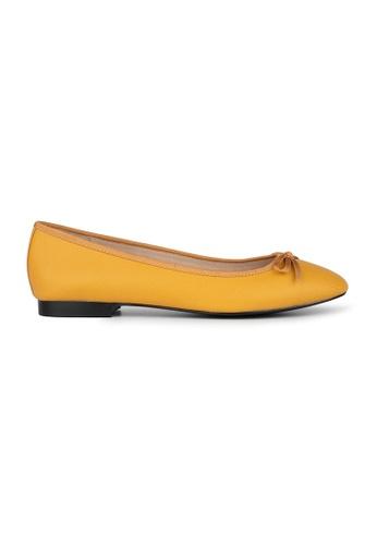 MAUD FRIZON yellow Textured Pu Ballerinas With Grosgrain Bow 71E85SH42956D4GS_1