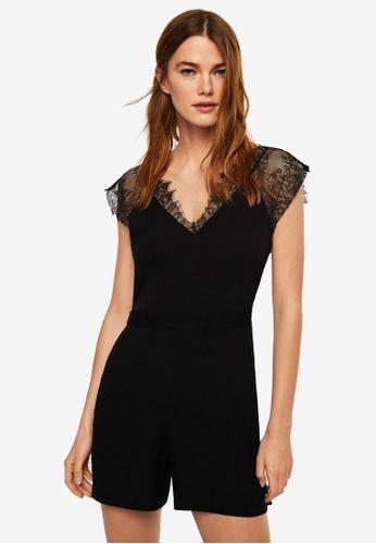 Mango black Lace Applique Jumpsuit A603BAAD1322A1GS_1
