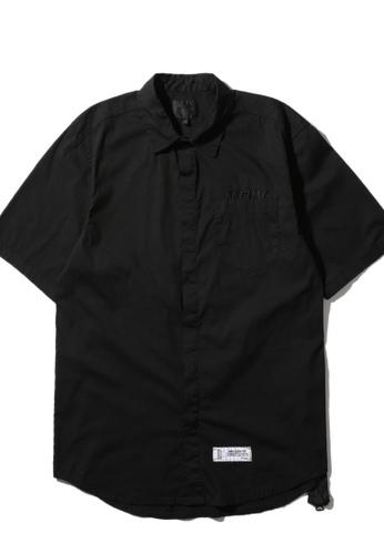 MUSIUM DIV black Logo embroidered zip seam shirt 02746AA42C1F2DGS_1