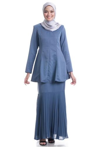 Ashura grey Fatemah Kurung With Pleated Mermaid Skirt A88D3AA11A0217GS_1