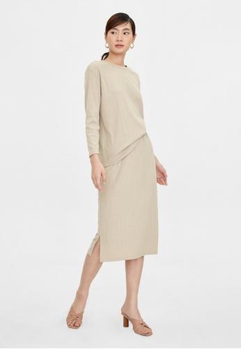 Pomelo beige Elastic Waist Side Slits Skirt - Beige 23E72AA5216A24GS_1