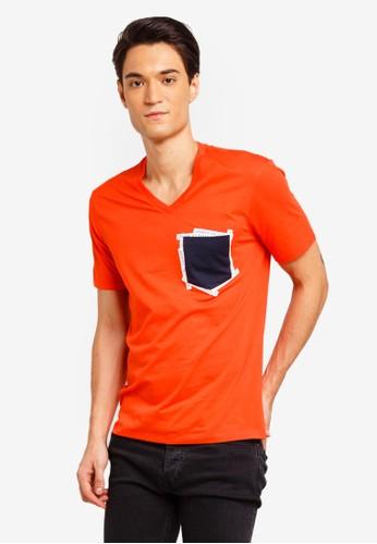 Armani Exchange orange Contrast Pocket V-Neck T-Shirt A2CD1AAB76FBA5GS_1