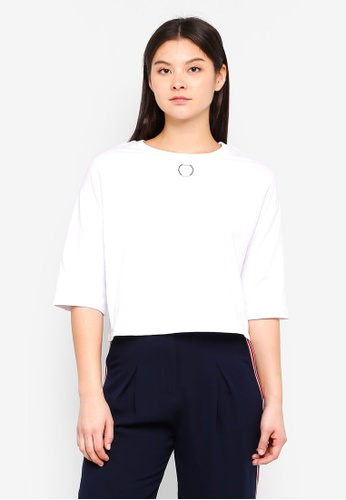 Something Borrowed white Ring Detail Oversized Boxy Tee 616B3AABBEC6F4GS_1