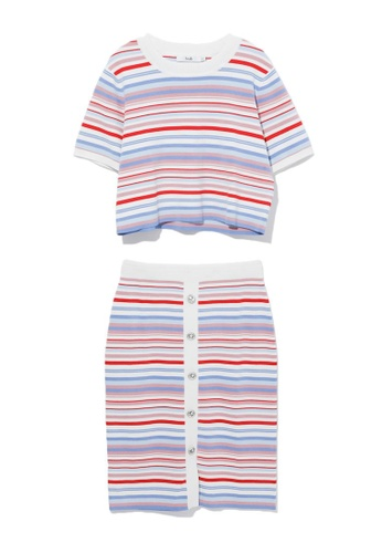 b+ab pink Stripe knit tee and skirt set 9DD27AAFF9754FGS_1