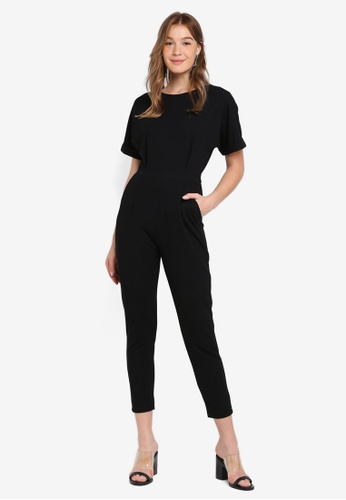 ZALORA BASICS black Basic Drop Shoulder Jumpsuit 6631CAAA5BEB65GS_1