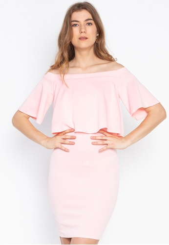 1b368487585a Ashley Collection pink Off Shoulder Frill Bodycon Dress 93577AA85EBB81GS_1