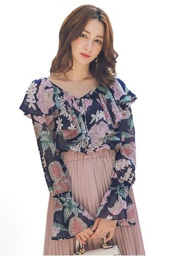Yoco blue Ruffle Trim Floral Long Sleeve Top 0AAA1AA0ABC79AGS_1