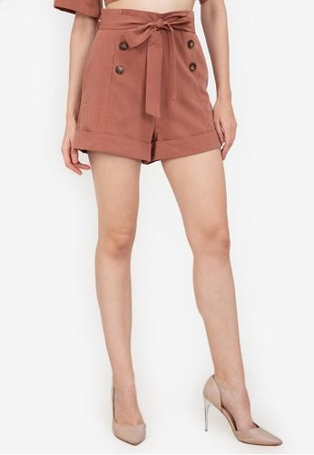 ZALORA WORK brown Paperbag Shorts 9ACB0AAAA35586GS_1
