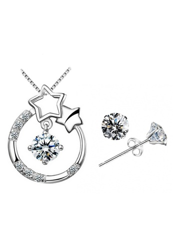 YOUNIQ silver YOUNIQ Starry Eyes 925 Sterling Silver Necklace Pendant with Cubic Zirconia & Earrings Set 54515ACF3B3007GS_1