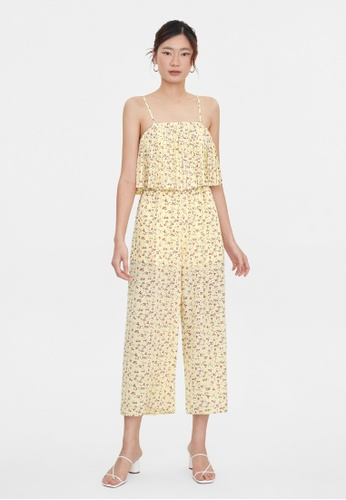 Pomelo yellow Floral Print Pleated Cami Jumpsuit - Yellow 62D3AAAB8B3652GS_1