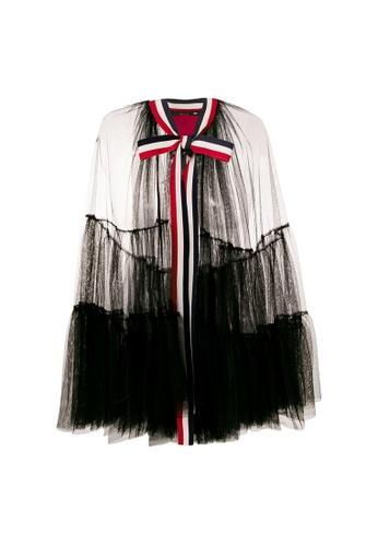 Moncler black Moncler See-Through Adjustable Ribbon Cloak in Black EA616AAB81BDDFGS_1