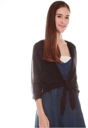 JOVET black Tie Front Cardigan 986FDAA422129DGS_1