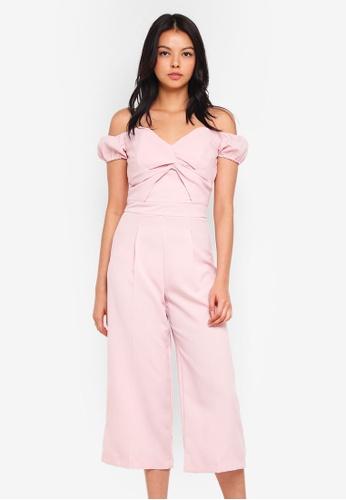 Miss Selfridge pink Twist Front Bardot Jumpsuit 36D35AA93A0BEFGS_1