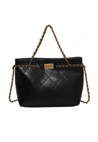 Lara black Business Women's Capacious Rhombic Embossed Leather Shoulder Bag Handbag - Black B86C7AC9EBE8ABGS_1