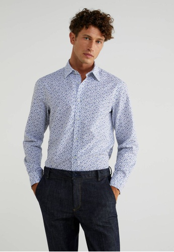 United Colors of Benetton blue Printed Slim Fit Shirt E3F42AA32DB231GS_1