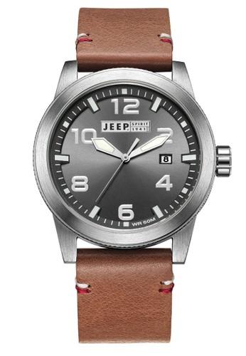 Jeep Spirit Mutifunction Men's Watch JPS70203 Grey Brown Leather
