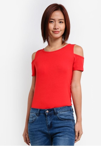 ZALORA red Cold Shoulder Tee AE7B4AA5B3E7B6GS_1