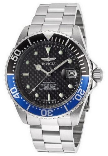 Invicta silver Invicta Pro Diver Men 43mm Case Silver Stainless Steel Strap Black Dial Automatic Watch 15584 w/ Cap IN968AC0FA04SG_1