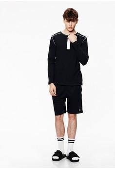 【ZALORA】 Casual 簡約刺繡 棉質抽繩短褲-02425-黑色