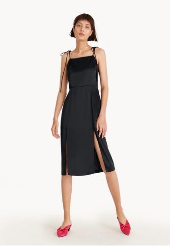 Pomelo black Midi Satin Tie Strap Front Slit Dress - Black AEDA8AA0397AD8GS_1