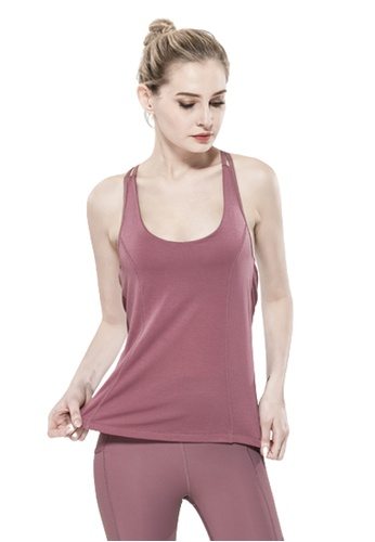 Trendyshop 紫色 假兩件健身瑜伽背心連胸圍 AFE6AUSFD4EA9BGS_1
