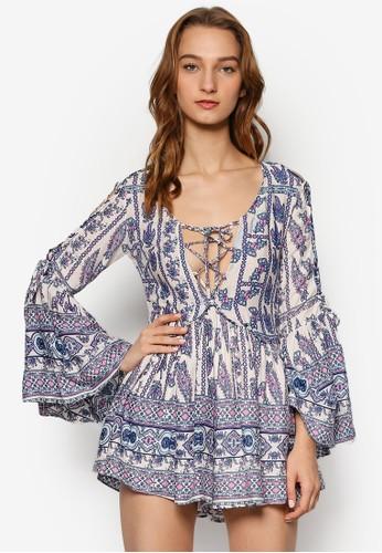 Paisley 印花挖esprit outlet 香港肩喇叭袖連身褲裙, 服飾, 服飾