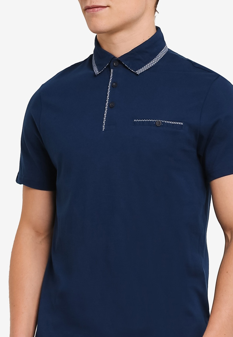 Mid Polo Blue Burton Collar London Menswear Shirt Double HgRxqY