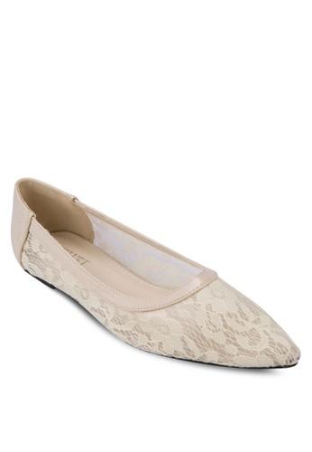 Trisha 蕾zalora 順豐絲鉤花尖頭平底鞋, 女鞋, 鞋