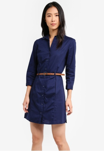 Mango blue and navy Belt Cotton Dress MA193AA0T1KRMY_1