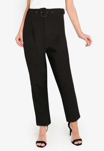 ZALORA WORK black Long Pants With Self Fabric Belt A7BAEAABAD9BBEGS_1