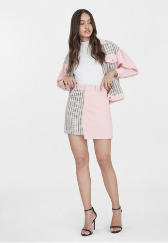 Pomelo pink Two Tone Tweed Denim Skirt - Pink 7C710AA038D086GS_1