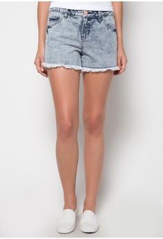 Styled Acid Wash Denim Shorts