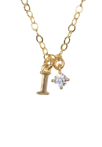 PSYNDROME gold Personalised Initial Letter Alphabet with Cubic Zircona Necklace - I 9A221AC36BD739GS_1