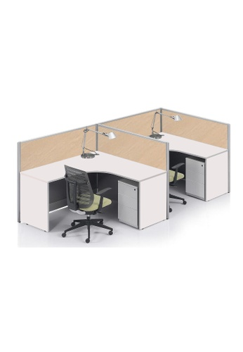 AMERCIS white Amercis Stamford F-Shaped Workstation for 2 F2BADHL3684BEEGS_1