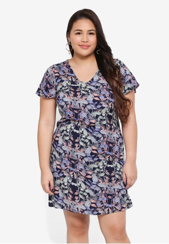 Junarose navy Plus Size Bonita Zeenan Abstract Dress 5F44FAA46E7C1BGS_1
