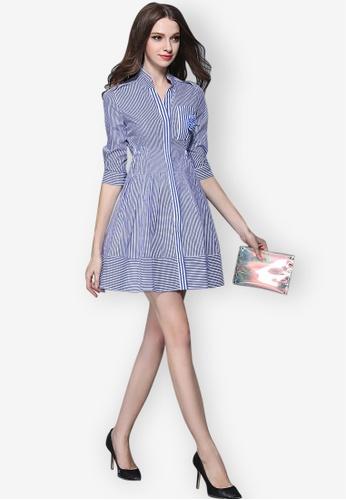 Sunnydaysweety blue S/S Striped Shirt Tunic One Piece Dress 1CDAFAA152CF7FGS_1