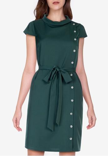 ZALORA WORK green Side Buttons Dress AAEC4AA0872F85GS_1
