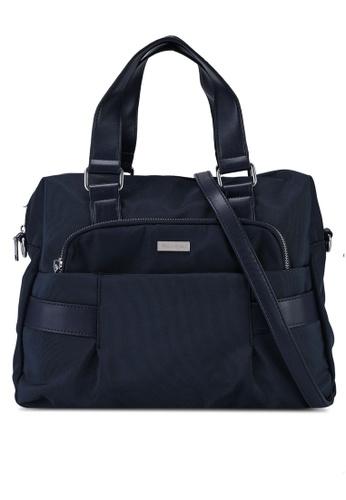 NUVEAU navy Premium Nylon Convertible Top Handle Bag E1DC1ACDA1B5A6GS_1