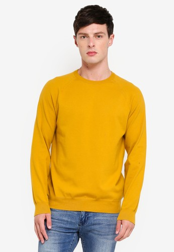 French Connection yellow Stretch Cotton Crew Sweater F2375AA0978321GS_1
